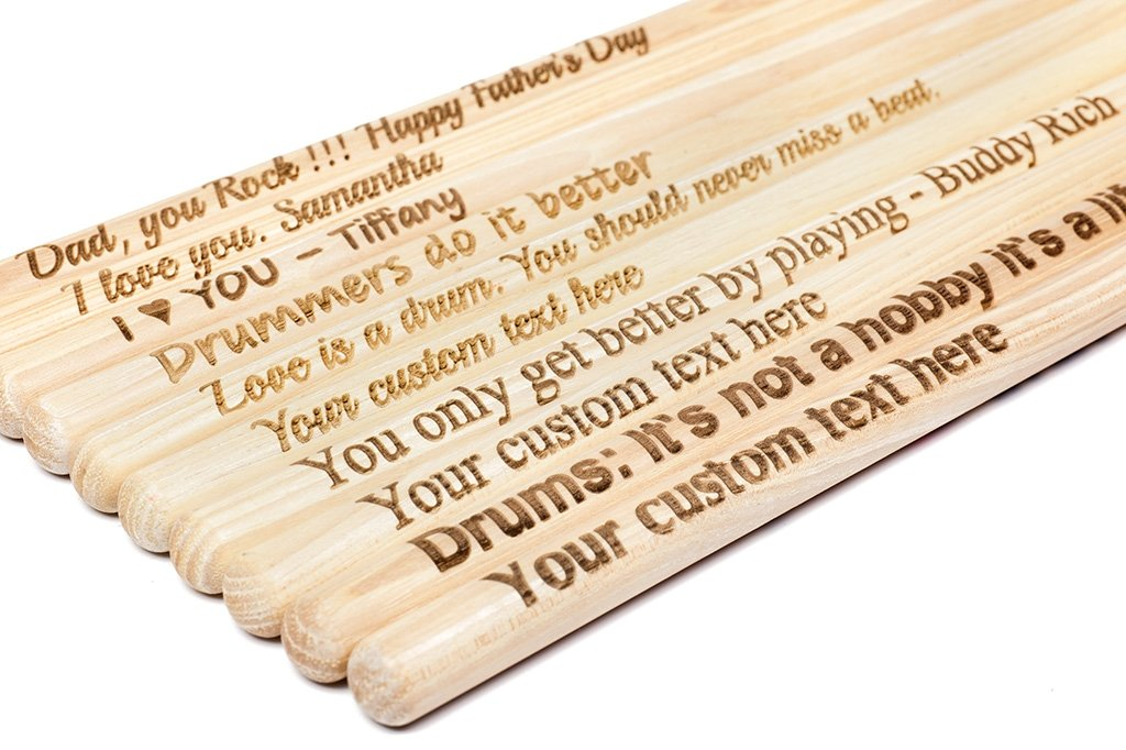 Personalised Custom Engraved Drum Sticks 5A Premium Maple Wood Any Message Text