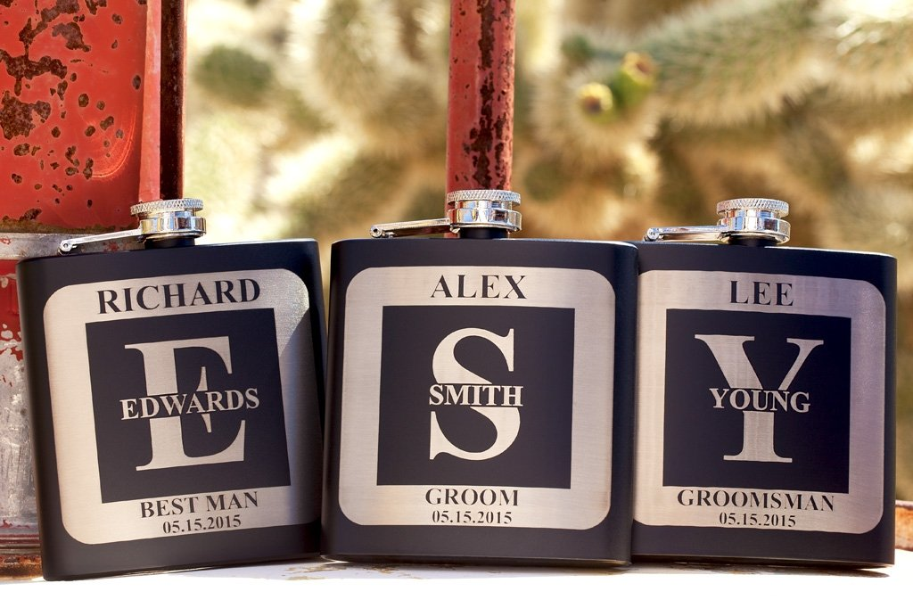 personalized black Groomsmen Gift Flask