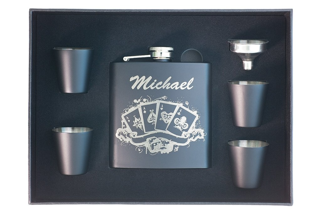 personalized poker flask in Shot Glass Box