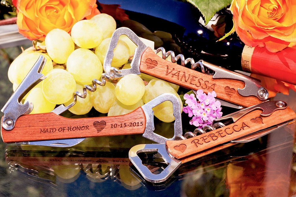 personalized bridesmaid bottle opener wine corkscrew
