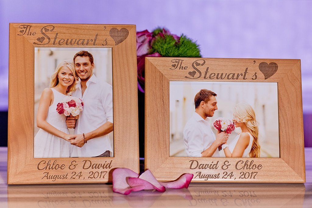 personalized Wedding Gift picture frame  (Alder Design1)