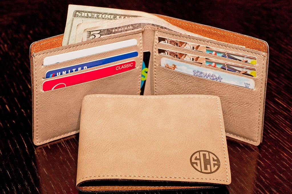 customized leather wallet with monogram