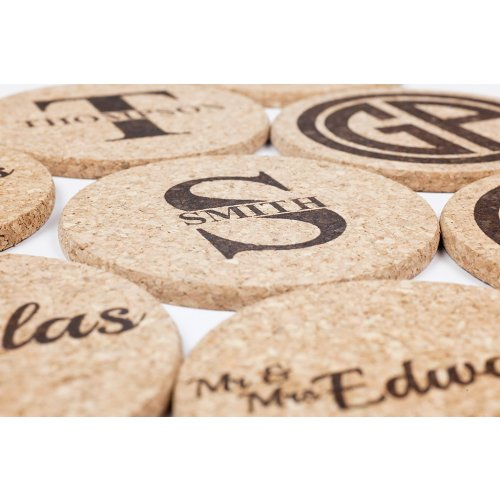 personalized cork coaster gift set