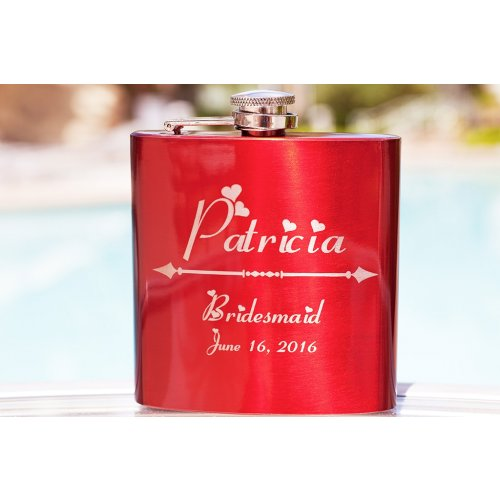personalized gift flask for bridesmaid red