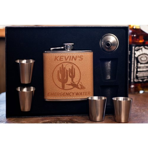 personalized Birthday Flask in Shot Glass Box