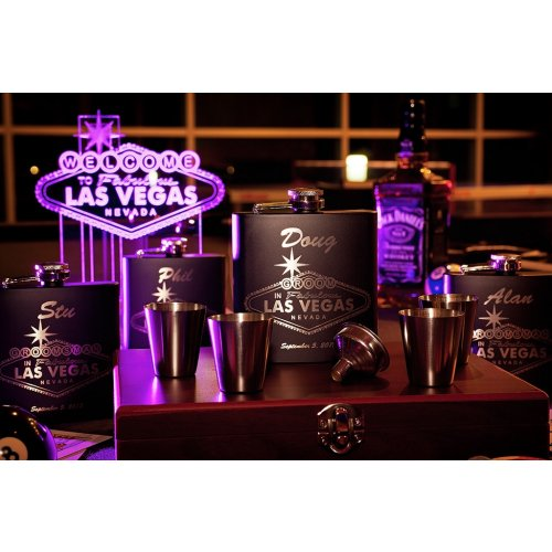 Las Vegas Bachelor Party Set with personalized Flasks