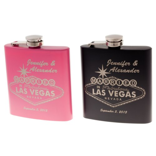 personalized flask married in las vegas