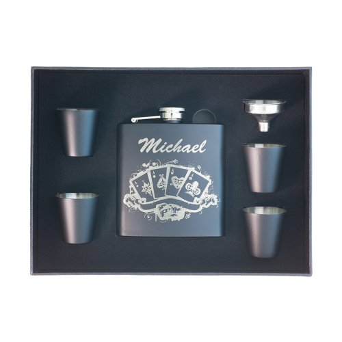 personalized poker flask in Shot Glass Box
