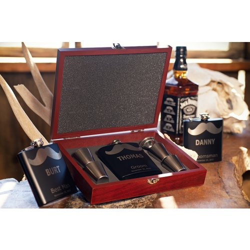 customized Rosewood Gift Box with Mustache Flask