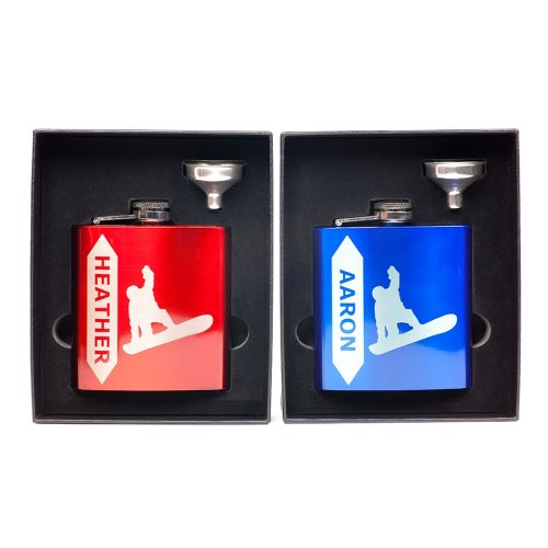 customized Snowboard Flasks in Funnel Gift Box