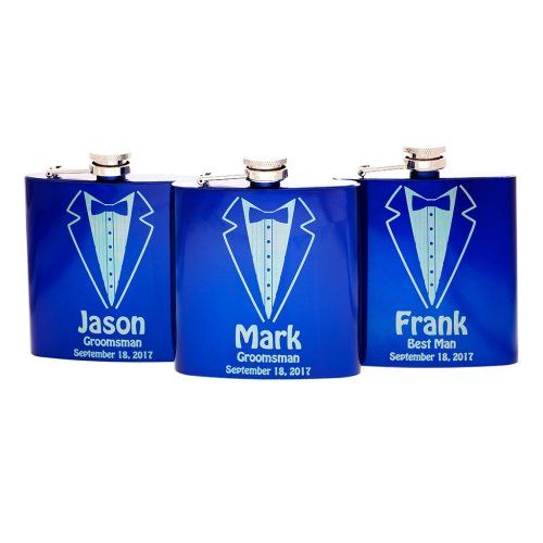 personalized blue Tuxedo Flask for Groom, Best Man, Groomsman