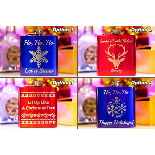 Christmas flasks in different designs