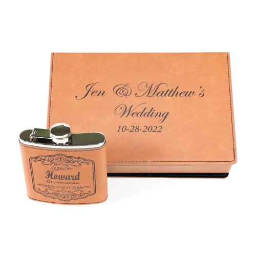 personalized leather gift box for wedding