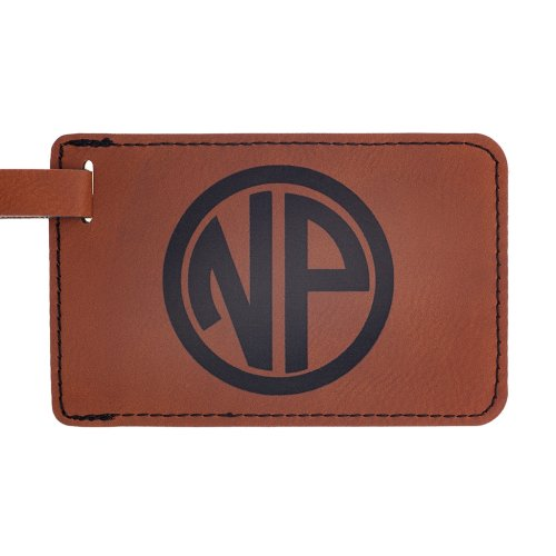 leather luggage tag personalized with your monogram