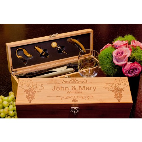 personalized Bamboo Wine Box for Wine Lover Couple