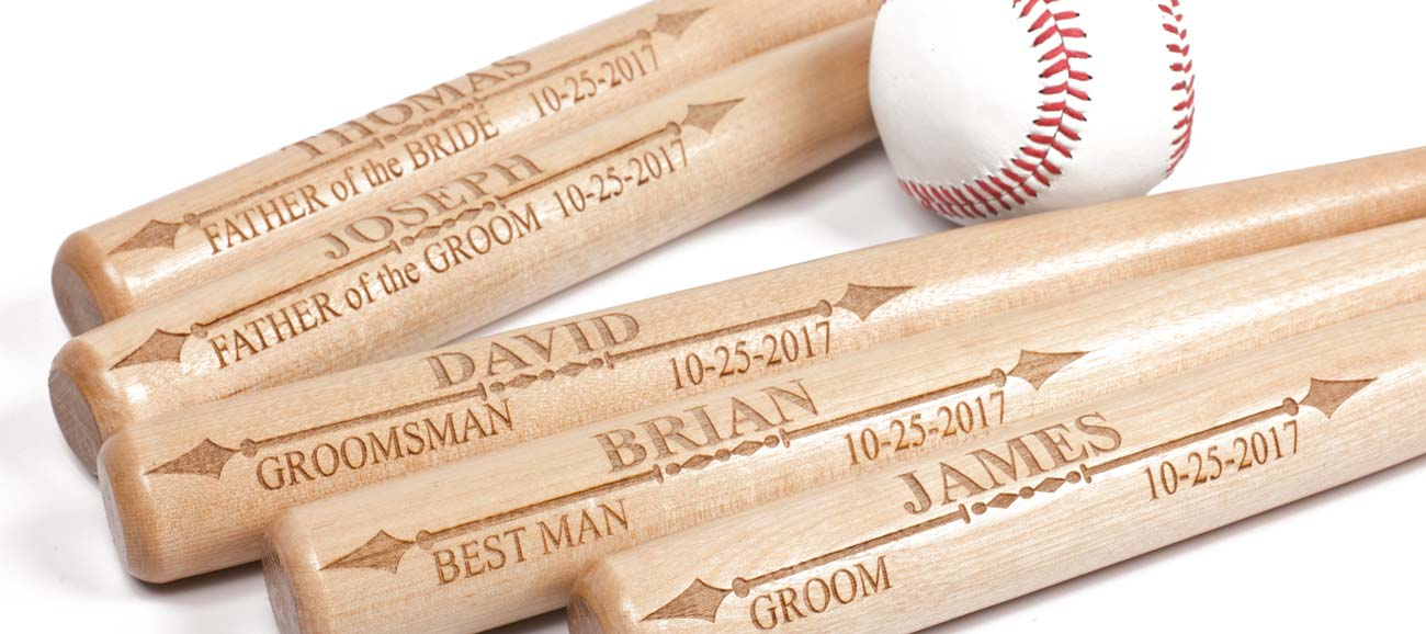 Personalized Mini Baseball Bat is a unique Groomsmen Gift for a Baseball Fan Wedding, perfect for Junior Groomsman, Ring Bearer or as Baseball Club Gift